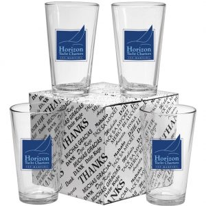 branded thank you mixing bar glass set